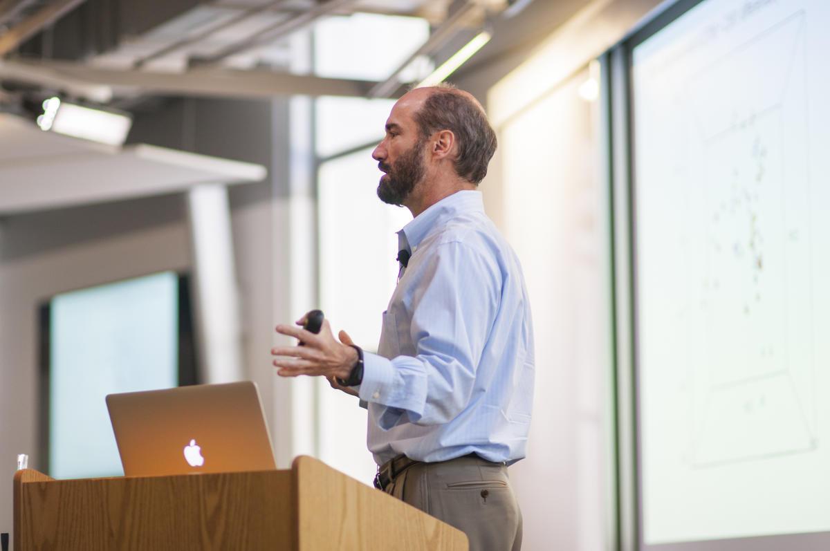 UC Berkeley professor addressing class