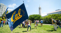 Cal Day 2014, student waving Cal branded flag on campus lawn