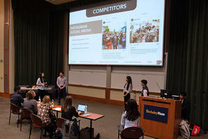Group of ABA students present their pitch to the Peet's panel