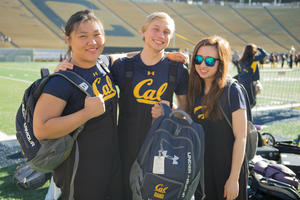 Joyce, Griffin, and Katie from the Cal Band sport their Under Armour Gear. Photo courtesy Kush Patel.