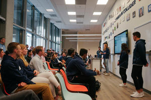 Students present their final prototypes at the Sport Tech Collider Demo Day. Photo courtesy SCET.